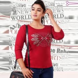 Littledesire Printed Cotton Women Red T-Shirt