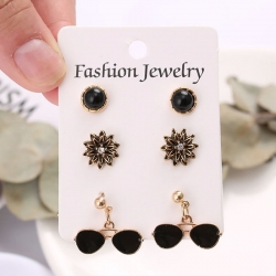 Flower Crystal Black Stud Earrings 3 pcs Set