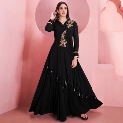 Littledesire Embroidered Work Floral Design Georgette Gown