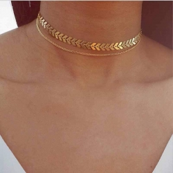 Multi Simple Tassel Gold Plated  Chain Choker Necklace