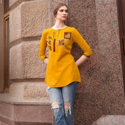 Boat Neck Embroidered Work Short Kurti Top