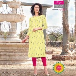 Print Boat Neck Straight Yellow Kurta