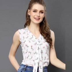 Women Tie Neck White Sleeveless Printed Top