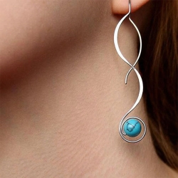 New Trendy Wave Design Blue Stone Earrings
