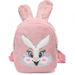 Cute Cartoon Faux Fur Shoulder Backpack for Girls -12 inch