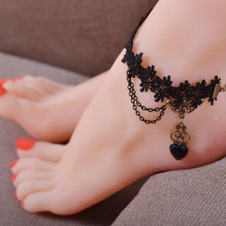 Love Heart Lace Handmade Gothic Black Anklets