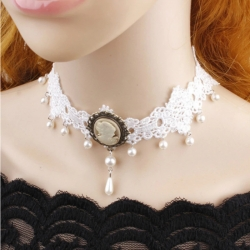 Fashion Lace White & Black Pearl  Beads Collar Choker Necklace