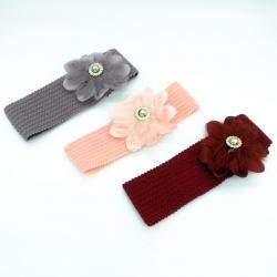Flower Design Elastic Hairband For Babies Kids Girls 3 Pcs