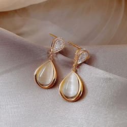 Opal Water Drop Stud Earrings
