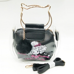 Lovely Girl Print Pom-Pom Fur Ball Transparent Shoulder Jelly Sling Bag