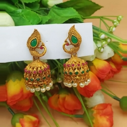 Peacock Design Pearl Jhumka Earrings