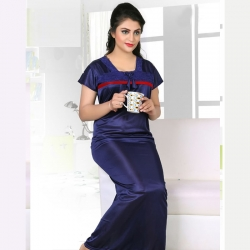 Women Solid Maxi Satin Nighty