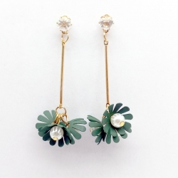 Gold Plated Pearl in Flower Drop Earrings