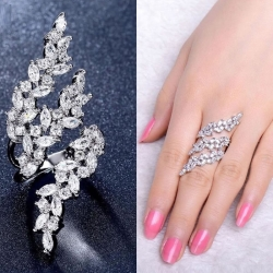 Stering Silver Plated Zircon Leaf Finger Ring