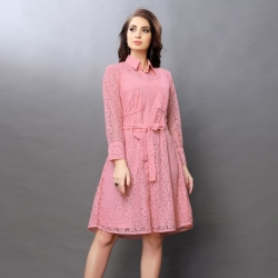 Full Sleeves Collar Neck Lace Design Party Wear Dress
