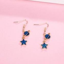Moon Blue Star Dangle Drop Earrings