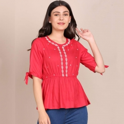Flare Embroidered Tie-Up Sleeve Top