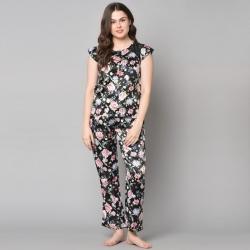 Floral Print Top & Pajama Set for Women