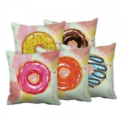 Donuts Printed Multi Color Cushions Cover 16 x 16 inch Pack of 5