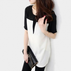 Black & White Ciffon Top