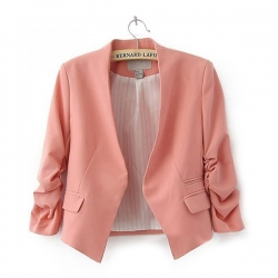 Women Candy Color Thin 3/4 Sleeve Coat