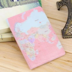 Travel Utility Simple Passport or ID Card Cover Holder (Pink Map)
