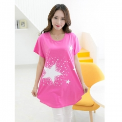 Short Sleeve O Neck Pink Long Top
