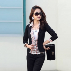 One Button Long Sleeve Short Suit Blazer