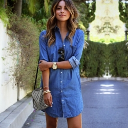 European Long Sleeve Loose Denim Shirt