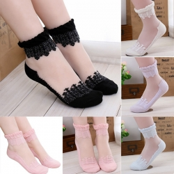 Ultrathin Transparent Lace Short Socks - 6 Pairs Lot