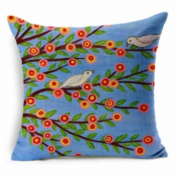 Colorful Floral Tree of Life Bird Jute Cushion Covers