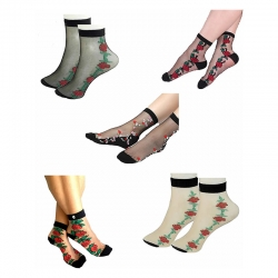 Littledesire Ultrathin Floral Embroidery Socks - 5 Pairs