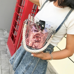 Sequin Bucket Shoulder Bag With Handle Bag