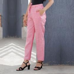 Littledesire Women Linen Silky Slub Pink Trouser