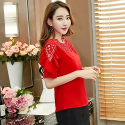 O-Neck Lace Hollow Out Ruffles Short Sleeve Top