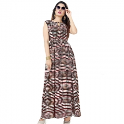 Littledesire Stylish Printed Long Mesh Kurta & Dress With Keyhole Neck