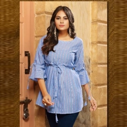 Littledesire Round Neck Bell Sleeve Short Kurti Top