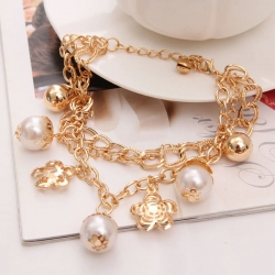 Littledesire Fashion Crystal Pearl Charm Golden Chain Bracelet