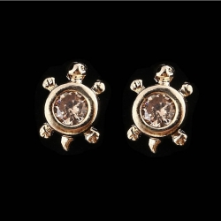 Littledesire Crystal Cubic Gemstone Turtle Stud Earring