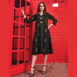 Littledesire Shrug Style Printed Black Kurta