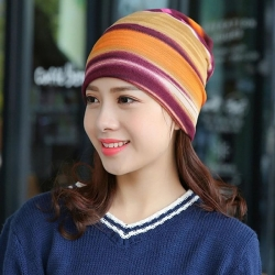 Fashion Striped Print Cotton Warm Circle Winter Hat/Scarf