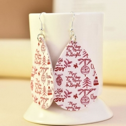 Water Drop Shape Christmas Dangle Earrings