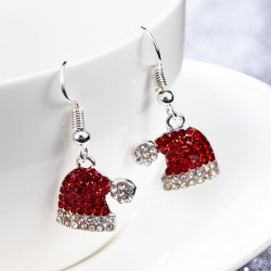 Crystal Stone Red Hat Christmas Dangle Earrings
