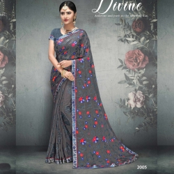 Littledesire Latest Design Floral Print Grey Brasso Saree