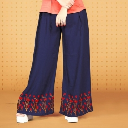 Littledesire Embroidered Work Straight Blue Palazzo