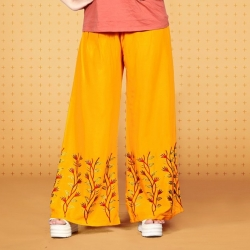 Littledesire Embroidered Work Straight Mustard Palazzo