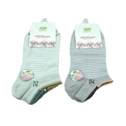 Littledesire Striped Print Women Cotton Socks 2 Pairs