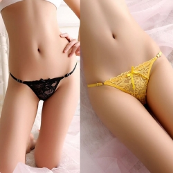 Floral Lace Bow Women Transparent Panties  (Pack of 2)