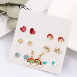 Heart Moon Star Flowers Stud Rainbow Earrings 7 pcs Set