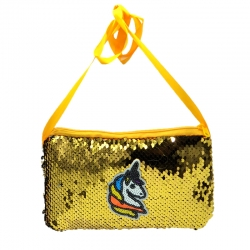 Sequins Glitter With Back Side Faux Fur Crossbody Sling Bag